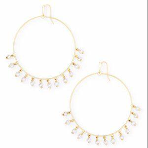 NWT Kendra Scott Hilty Gold Hoop Earrings in Pearl